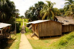 Peru, Peruwiański Amazonas krajobraz. Fotografii teraźniejszości typowi indyjscy plemiona osadniczy w amazonce zdjęcia stock