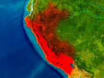 Peru on physical map Stock Image