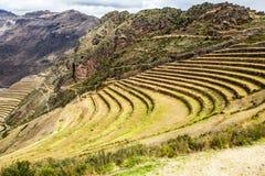 Peru, Pisac (Pisaq) - Inca-ruïnes in de heilige vallei in de Peruviaanse Andes Stock Afbeeldingen