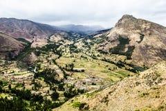Peru, Pisac (Pisaq) - Inca-ruïnes in de heilige vallei in de Peruviaanse Andes stock foto