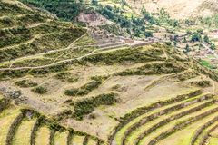 Peru, Pisac (Pisaq) - Inca ruins in the sacred valley in the Peruvian Andes Royalty Free Stock Photos