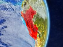 Peru on planet planet Earth with country borders. Extremely detailed planet surface and clouds. 3D illustration. Elements of this. Image furnished by NASA vector illustration