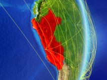Peru on planet planet Earth with network. Concept of connectivity, travel and communication. 3D illustration. Elements of this. Image furnished by NASA stock illustration