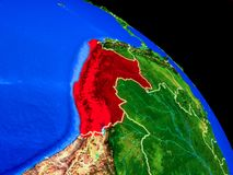 Peru on planet Earth. From space with country borders. Very fine detail of planet surface. 3D illustration. Elements of this image furnished by NASA stock illustration
