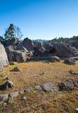 Peru, Qenko, bij Archeologisch Park van Saqsaywaman. Zuid-Amerika. Deze archeologische plaats wordt gevestigd - Inca-ruïnes die stock afbeelding