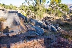Peru, Qenko, bij Archeologisch Park van Saqsaywaman. Zuid-Amerika wordt gevestigd dat. stock afbeeldingen