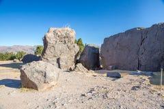 Peru, Qenko, gelegen am archäologischen Park von Saqsaywaman. Südamerika lizenzfreie stockbilder