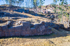 Peru, Qenko, located at Archaeological Park of Saqsaywaman.South America.This  archeological site - Inca ruins. Is made up of limestone Royalty Free Stock Photo