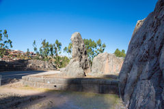 Peru, Qenko, located at Archaeological Park of Saqsaywaman.South America. This archeological site - Inca ruins- is made up of limestone royalty free stock image