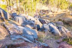 Peru, Qenko, lokalizować przy Archeologicznym parkiem Saqsaywaman.South America.This archeological miejsce - inka ruiny zdjęcie stock