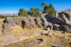 Peru, Qenko, lokalizować przy Archeologicznym parkiem Saqsaywaman.South America.This archeological miejsce - inka ruiny fotografia stock
