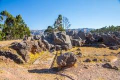 Peru, Qenko, lokalizować przy Archeologicznym parkiem Saqsaywaman.South Ameryka. obraz stock