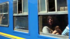 Peru Rail Train Windows Moving Pass Camera stock footage