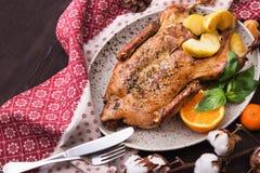 Peru Roasted com maçã e laranja imagem de stock