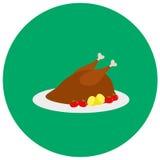 Peru Roasted para o ícone bonito do jantar no estilo liso na moda isolado no fundo da cor ilustração do vetor