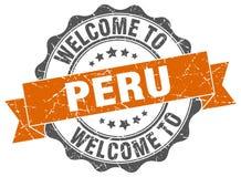 Peru round ribbon seal Stock Photography