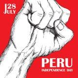 Peru ` s dzień niepodległości Lipiec 28rd Krajowy Patriotyczny wakacje wyzwolenie w ameryka łacińska Zaciskająca ludzka pięść ilustracja wektor