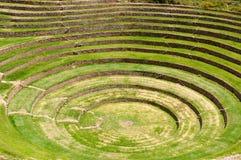 Peru, Sacred Valley Inca Laboratory of agriculture. Peru, Moray, ancient Inca circular terraces. Probable there is the Incas laboratory of agriculture Stock Images