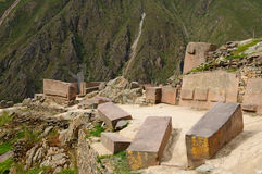 Peru, Sacred Valley, Ollantaytambo Inca fortress. Peru, Ollantaytambo - Inca fortress in the sacred valley in the Peruvian Andes. The picture presents gigant Stock Photography