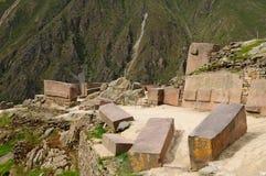 Peru sakral dal, Ollantaytambo Incafästning arkivbild