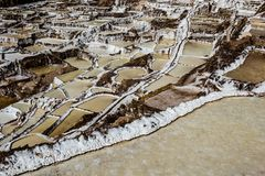Peru, Salinas de Maras, Pre Inca traditional salt mine (salinas). Royalty Free Stock Photos