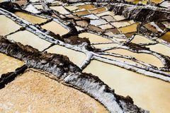 Peru, Salinas de Maras, Pre Inca traditional salt mine (salinas). Royalty Free Stock Photography