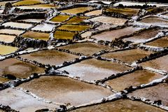 Peru, Salinas de Maras, Pre Inca traditional salt mine (salinas). Royalty Free Stock Photo