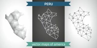 Peru-Sammlung der modernen Karten-, Grauer und Schwarzer und silbernerdes punktentwurfs-Mosaiks 3d Karte des Vektordesigns Lizenzfreie Stockbilder