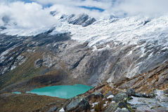 Peru - se från Cordillera Blanca i Anderna - Lagunasen Morococha Royaltyfria Bilder