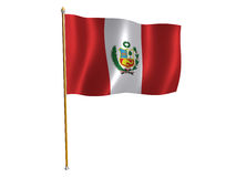 Peru silk flag Royalty Free Stock Photography