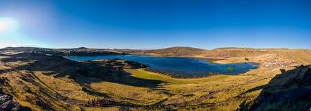 Peru Sillustani-de diepe zon van de panorama recente middag stock fotografie
