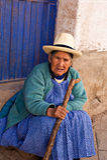 peru sitter peruansk pisac momentkvinnan Royaltyfri Foto