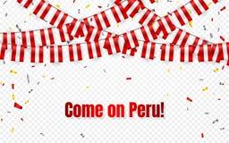Peru sjunker girlanden på genomskinlig bakgrund med konfettier Häng bunting för banret för mallen för Peru självständighetsdagenb stock illustrationer