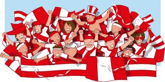 Peru Soccer fans. Cheering and waving flags vector illustration