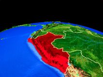 Peru from space on Earth. Peru on model of planet Earth with country borders and very detailed planet surface. 3D illustration. Elements of this image furnished royalty free illustration
