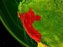 Peru from space with network. Peru on digital planet Earth from space with network. Concept of international communication, technology and travel. 3D vector illustration