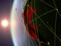 Peru from space with network. Peru from space on model of Earth during sunset with international network. Concept of digital communication or travel. 3D stock illustration
