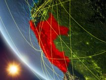 Peru from space with network. Peru on planet Earth from space with network. Concept of international communication, technology and travel. 3D illustration stock illustration