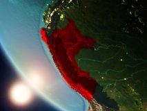 Peru during sunset on Earth. Satellite view of Peru highlighted in red on planet Earth with visible country borders during sunset. 3D illustration. Elements of stock photo