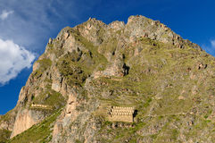 Peru, vale sagrado, fortaleza do Inca de Ollantaytambo imagens de stock