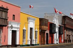 Peru, View on the Trujillo city. Trujillo city about the beautifllly colonial building on the Peruvian coasts. Cityscape - old town - colonial architecture Royalty Free Stock Photo