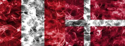 Peru vs Denmark smoke flag, group C, Fifa football world cup 201. 8, Moscow, Russia Stock Photo