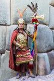 Peruan Anderna Cuzco Peru för manIncakrigare Royaltyfria Bilder