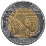 Peruan fem sular myntet. royaltyfria bilder