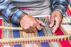 Peruan tkacza dywan obrazy royalty free