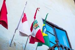 Peruanisch, Japaner und brasilianische Flaggen lizenzfreie stockfotos