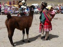 Peruanische Frau in der traditionellen Kleidung auf dem Durchlauf von Abra la Raya, Peru stockfotografie