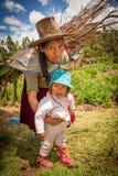 Peruanische indische Frau im traditionellen Kleiderspinnen Lizenzfreie Stockfotos