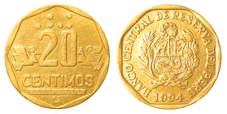 20-peruanische nuevo Solenoid-Centimos-Münze Stockbild