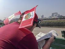 Peruanischer Bürger liest im Rennen lizenzfreie stockbilder